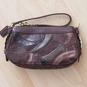 Coach Leather patchwork wristlet